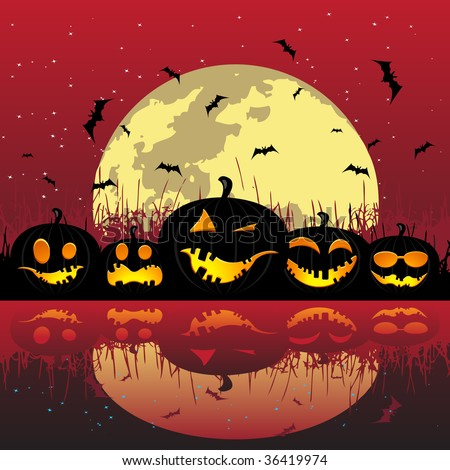 Halloween pumpkins under the moon, vector illustration for your design