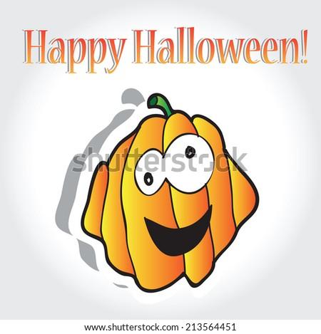 Halloween pumpkins - vector holiday card - stock vector