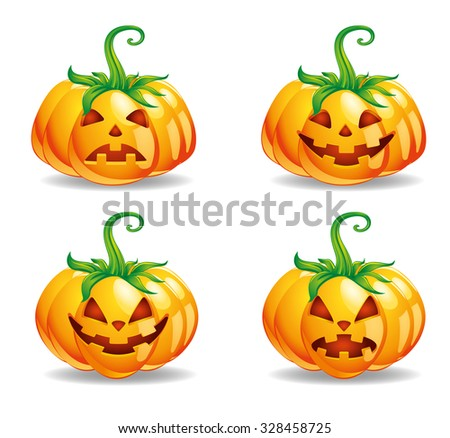 Halloween pumpkins vector isolated in white background - stock vector