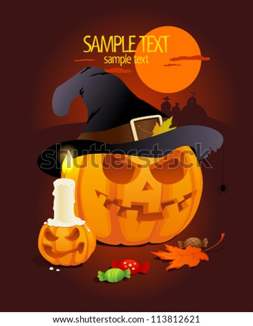 Halloween pumpkins with hat, candle and treats, cartoon illustration for kids party with copy space for text