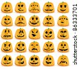 Halloween pumpkins with mouths, eyes and noses for Jack O`Lantern face,  vector illustration - stock vector