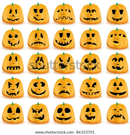 Halloween pumpkins with mouths, eyes and noses for Jack O`Lantern face,  vector illustration