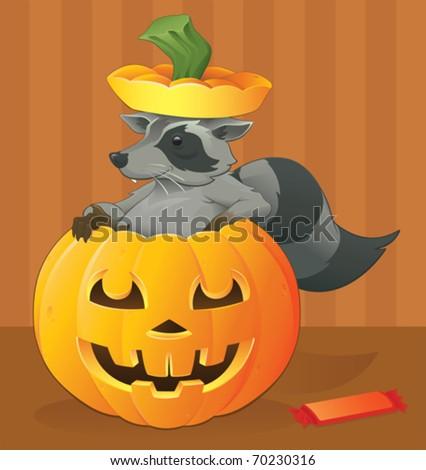 Halloween Raccoon Scavenger - vector - stock vector