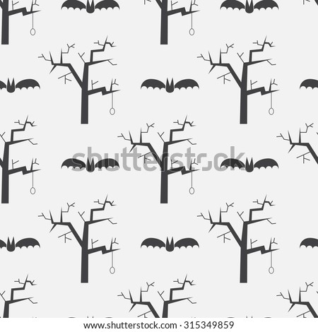 Halloween repeating pattern background with flying bats and evil trees. Mystic seamless pattern on scary story or horror tail theme. - stock vector