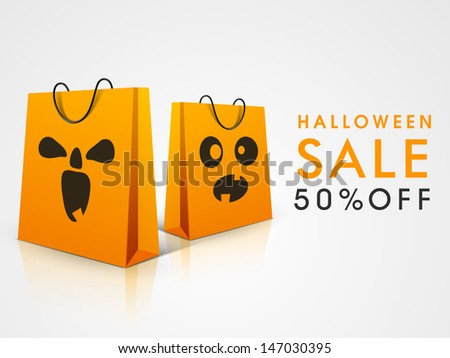 Halloween sale background with scary shopping bags design. - stock vector