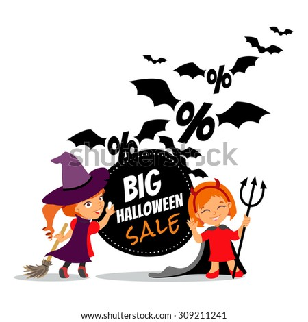 Halloween sale cartoon design template with two little girls in witch costumes and a lot of flying bats. Vector illustration - stock vector