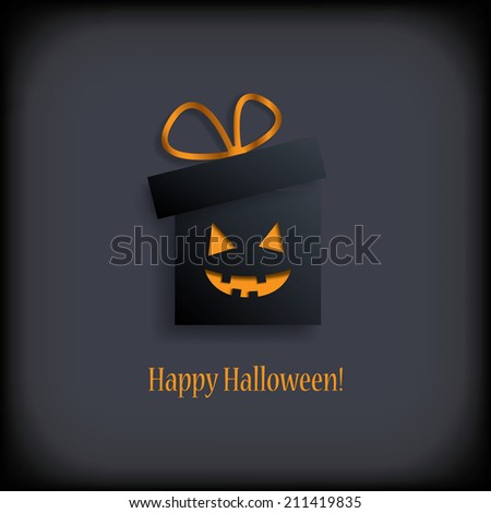 Halloween sale concept design with gift. Eps10 vector illustration. - stock vector