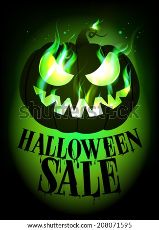 Halloween sale design with scary pumpkin. Eps10 - stock vector