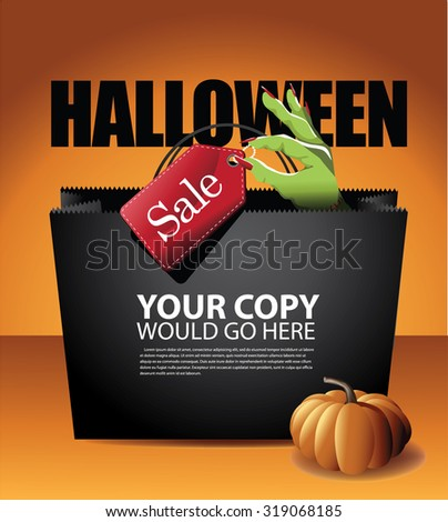 Halloween sale shopping bag background EPS 10 vector royalty free stock illustration for greeting card, ad, promotion, poster, flier, blog, article, social media, marketing - stock vector