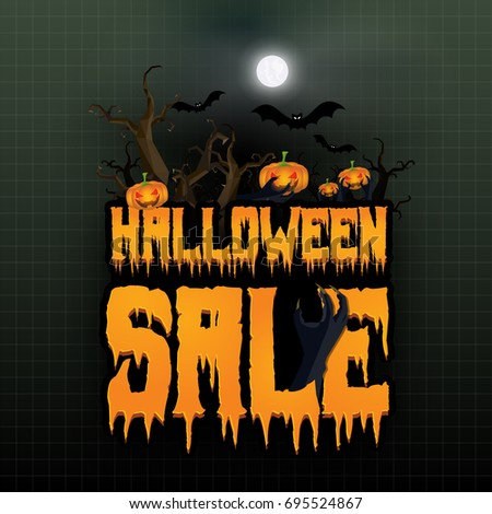 Halloween Sale Vector Banner Lettering Holiday Stock Vector ...