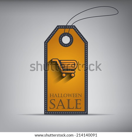 Halloween sales tag with shopping cart in 3D. Eps10 vector illustration. - stock vector