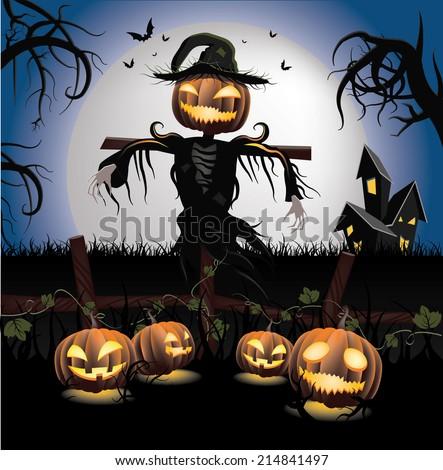 Halloween Scarecrow Stock Vector 214841497 - Shutterstock