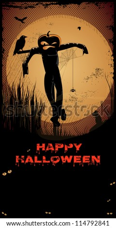 Halloween Scarecrow/Night with full moon,scarecrow, crow,Happy Halloween text and copy-space - stock vector