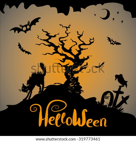 Halloween scary background,hand drawn vector illustration - stock vector