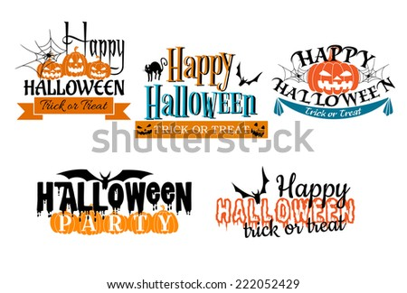 Halloween scary banners in cartoon  style with pumpkin, banner, flying bat, black cat, spider and trick or treat sign - stock vector