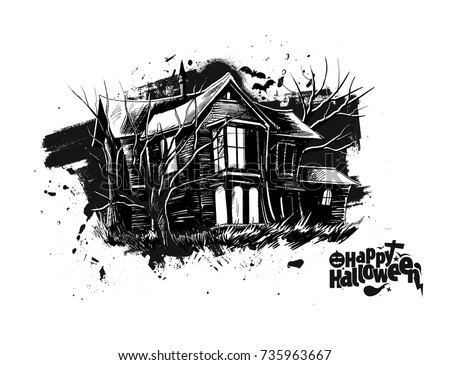 Halloween Scary Farmhouse Hand Drawn Sketch Stock Vector 735963667