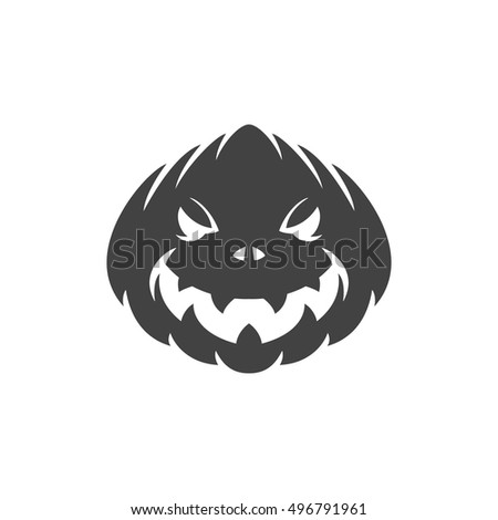 Halloween scary pumpkin face design element isolated on white vector illustration