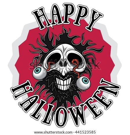 halloween scary zombie skull design - stock vector