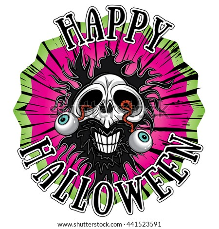 halloween scary zombie skull with eyes coming out  - stock vector