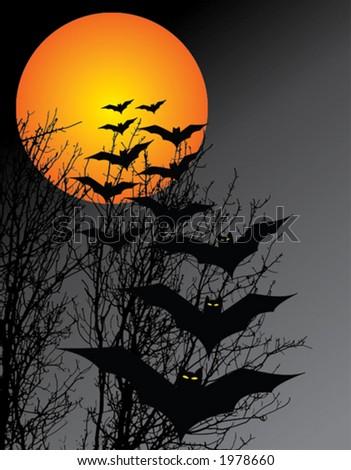 Halloween scene in vector - stock vector