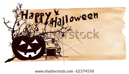 halloween scene with paper texture background
