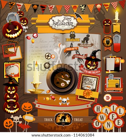 Halloween scrapbook elements. Vector illustration.