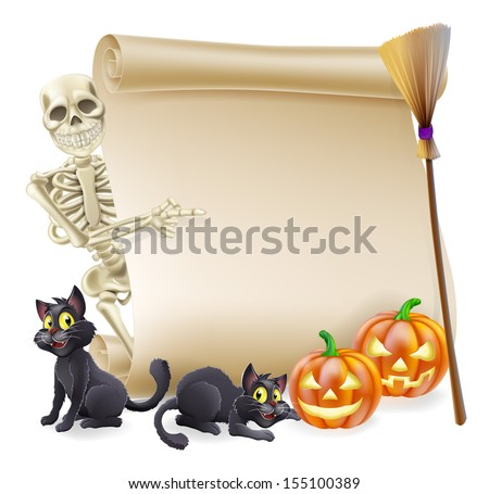Halloween scroll or banner sign with orange carved Halloween pumpkins and black witch's cats, witch's broom stick and cartoon skeleton character - stock vector