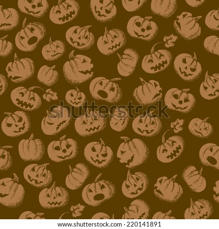 Halloween seamless background with pumpkins. vector illustration