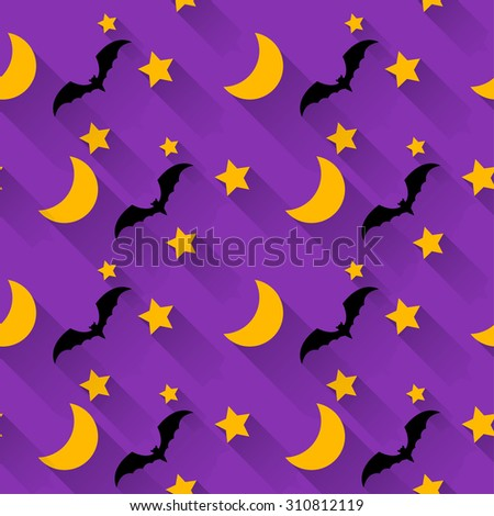 Halloween seamless pattern background with cartoon moon, stars and bats isolated on bright purple background