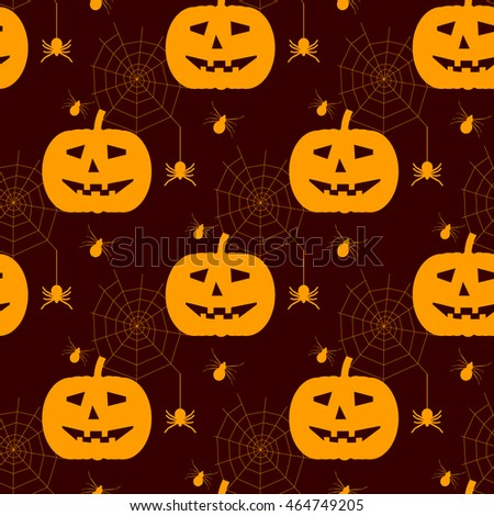 Halloween seamless pattern. Background with silhouettes of spiders and pumpkins