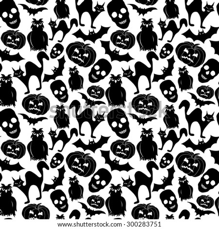 Halloween Seamless Pattern Black and White Silhouette Vector Illustration - stock vector