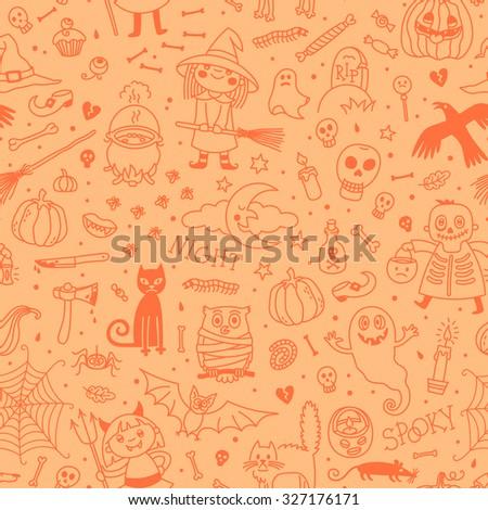 Halloween seamless pattern. Halloween background vector. Halloween Pumpkin Ghosts  Cats Skulls Bats and other symbols. - stock vector