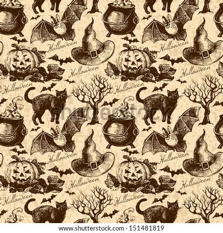 Halloween seamless pattern. Hand drawn illustration - stock vector