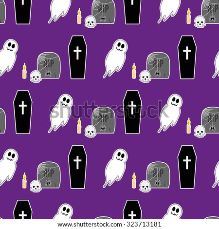 Halloween seamless pattern 2. Illustration of coffin, tombstone, candle, skull and spooky smiling ghost - stock vector