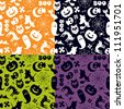 Halloween seamless pattern in four different color versions - stock photo