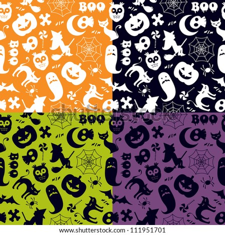 Halloween seamless pattern in four different color versions - stock vector