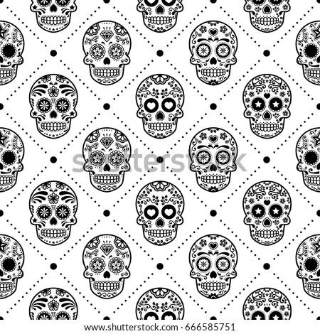 halloween seamless pattern mexican sugar skull vector design dia de los muertos calavera - Mexican Halloween Skulls