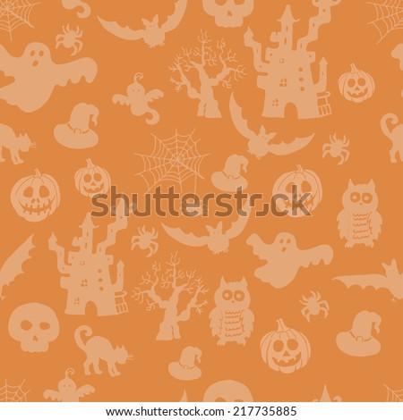 Halloween seamless pattern on an orange background - stock vector