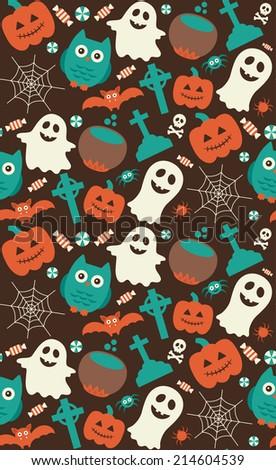 halloween seamless pattern. vector illustration - stock vector