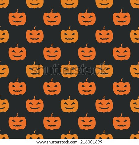 Halloween seamless pattern - vector yellow pumpkins on black background