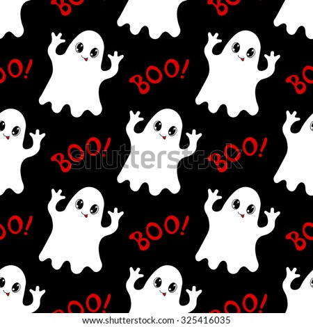 Halloween seamless pattern with cute ghosts and text Boo. Hand drawn vector illustration - stock vector
