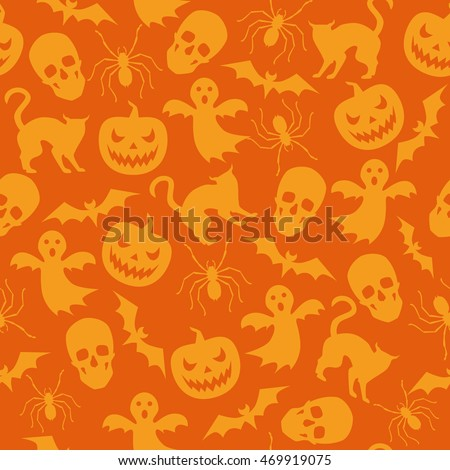 Halloween seamless pattern with pumpkin and ghost. Vector orange background