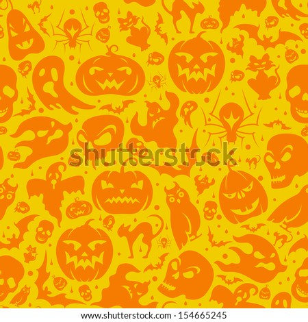 Halloween seamless pattern with pumpkin, cat, bat, ghost, skull, etc - stock vector
