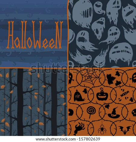 Halloween seamless patterns for backgrounds, postcards and scrapbooking. - stock vector