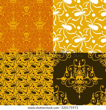 Halloween seamless patterns. Spooky vector designs for party projects. - stock vector