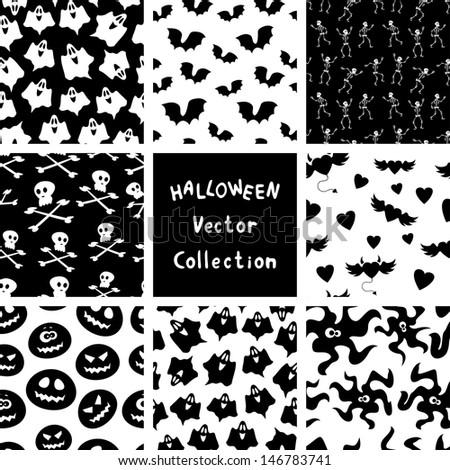 Halloween seamless patterns. Vector collection - stock vector