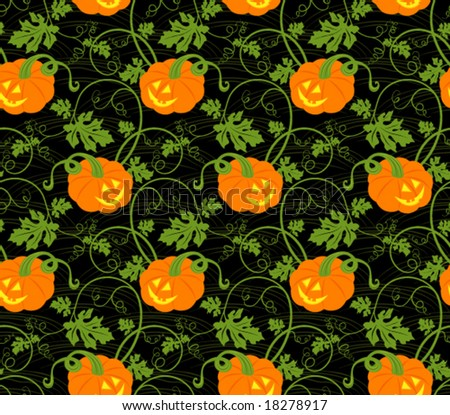 Halloween seamless pumpkin pattern - stock vector