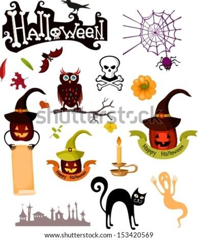 halloween set - stock vector