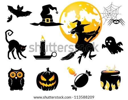 Halloween set, black /orange figures for decoration - stock vector