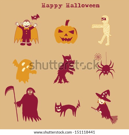 Halloween set doodle, hand drawing style  - stock vector